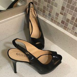 Guess Patent Leather Platform Pumps peep toe